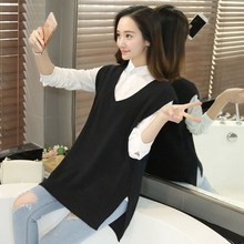 2018 New Arrival Autumn Female Cashmere V Neck Sweater Vest Korean Elegant Casual Sleeveless Knitting