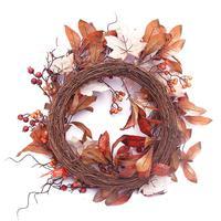 50cm Artificial Garland Autumn Maple Leaf Berry Wreath Thanksgiving Halloween Door Home Decor Window Hotel Decoration
