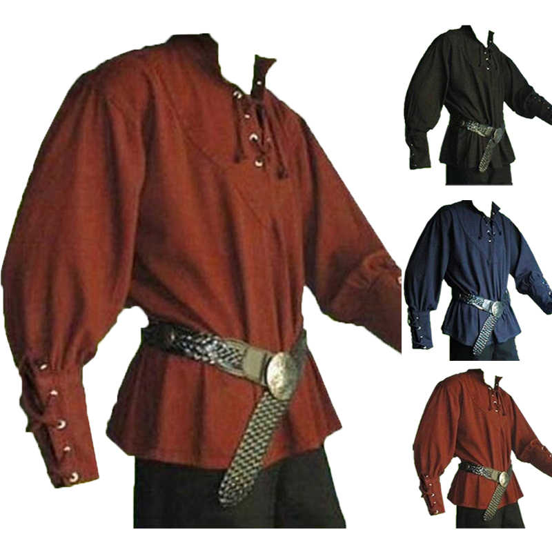 Vintage Men Medieval Renaissance Grooms Pirate Reenactment Costume Lace Up  Shirt Bandage Sleeves Top Landlord Knight Shirt Tunic