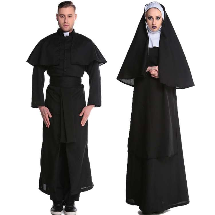 2018 Wholesale Virgin Mary Nuns Costumes for Women Sexy Long Black Nuns Costume Arabic Religion Monk Ghost Uniform Halloween