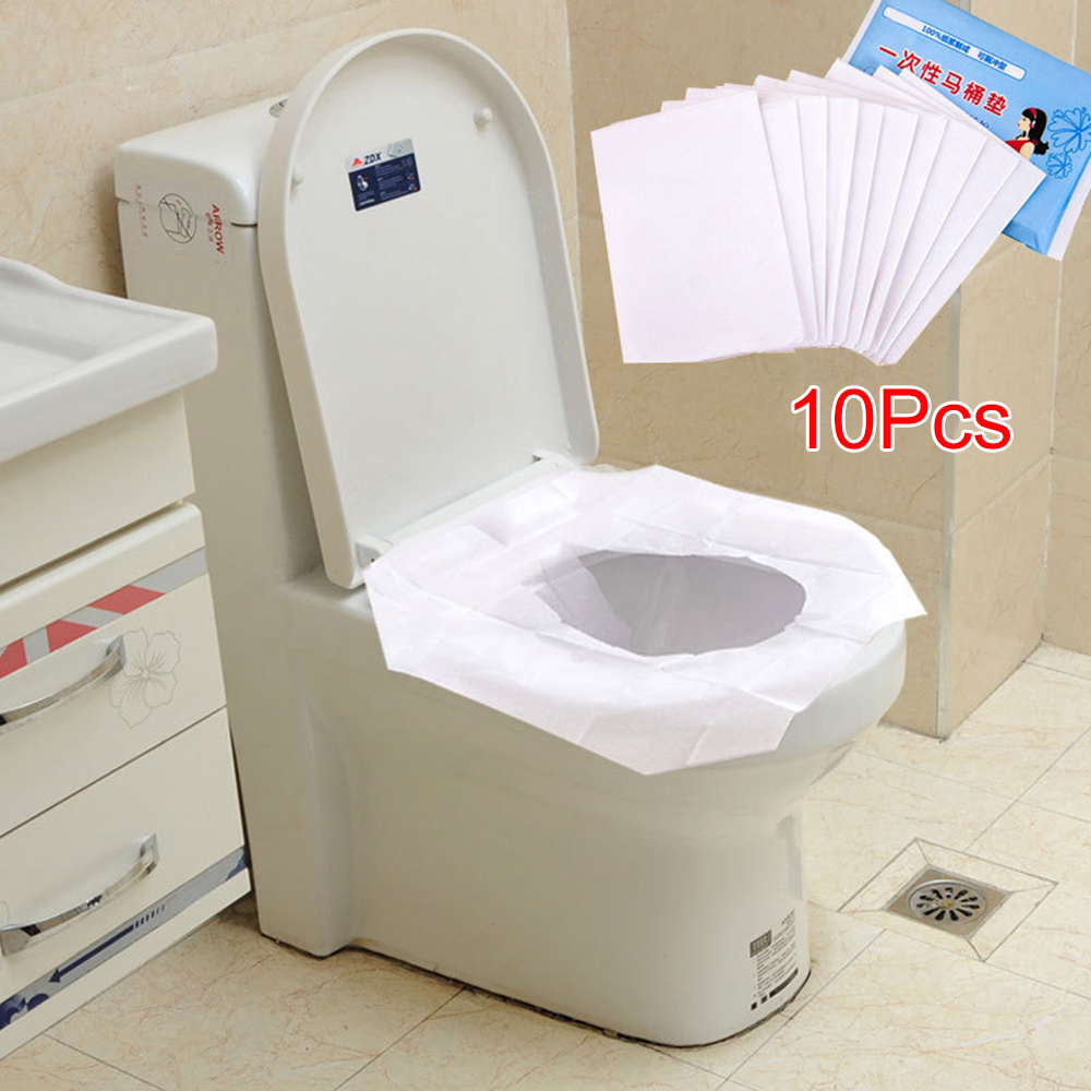 10pcs Travel Safety Disposable Toilet Seat Cover Plastic Waterproof Travel Items