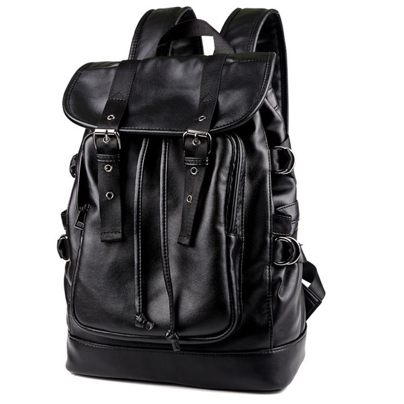 Fashion 14 Inches Laptop Backpack For Men Boys Large Capacity Drawstring Schoolbag Teenagers PU Leather RucksacksFashion 14 Inches Laptop Backpack For Men Boys Large Capacity Drawstring Schoolbag Teenagers PU Leather Rucksacks