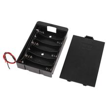 Black plastic battery holder box with cover for 6 x AA 9V