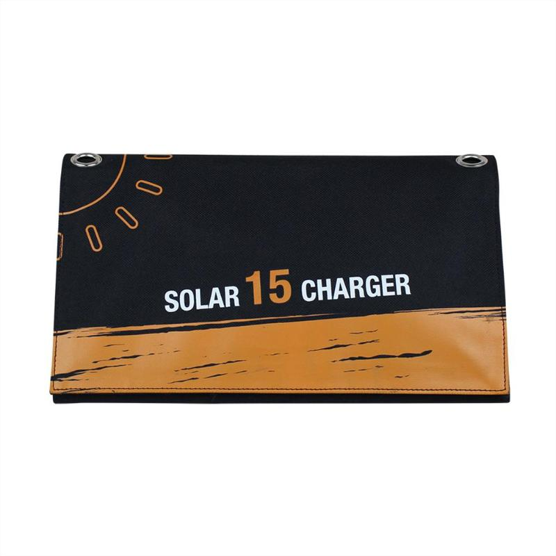 Sun Power Portable 15W Folding Solar Panel Charger Mobile Power Bank for Phone Battery Dual USB Port Outdoor Waterproof