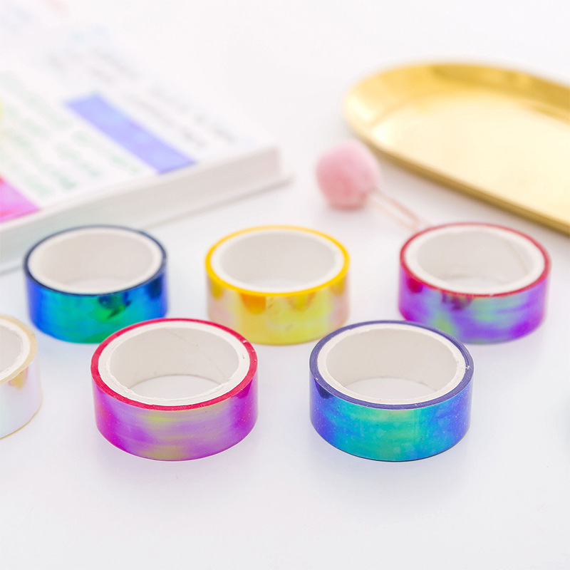 6Colors/Set Laser Rainbow PP Tape Decorative Adhesive Tapes DIY Masking Sticky School Supplies School Stationery Office Tools