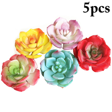 5PCS New Simulation Succulents Snow Rose Flower DIY Plant Accessories White Green + Red Yellow Pink Purple Home Decoration