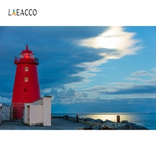 Laeacco Seaside Lighthouse Cloudy Sunset Photography Backgrounds Customzied Photographic Backdrops For Photo Studio