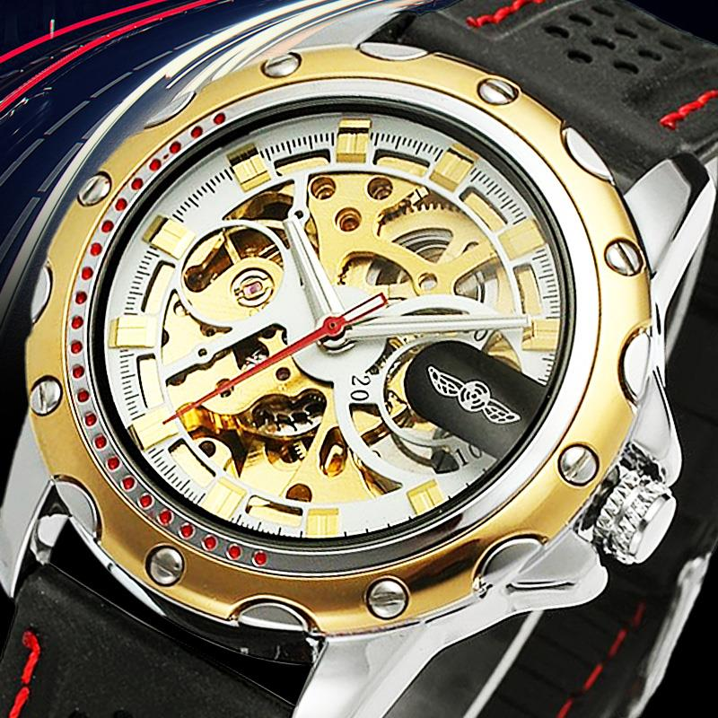 Watches Winner Classic Golden Skeleton Mechanical Watch Men Stainless Steel Strap Top Brand Luxury Man Watch Vip Drop Shipping Wholesale