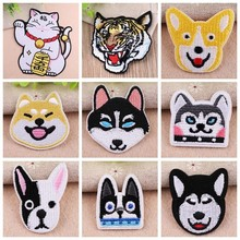 Fortune Cat Patch Embroidered Ironing Stickers Punk Animal Tiger Patches For Clothes Iron On Pet Dogs Cats Parches Decor
