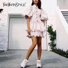TWOTWINSTYLE Casual Print Dress Women Lapel Puff Sleeve High Waist Hollow Out Dresses Female Spring 2019 Fashion New Tide