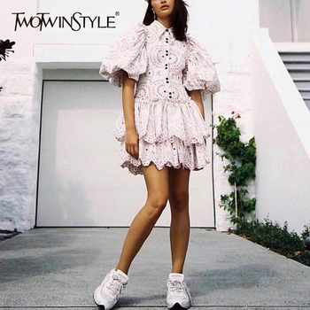 TWOTWINSTYLE Casual Print Dress Women Lapel Puff Sleeve High Waist Hollow Out Dresses Female Spring 2019 Fashion New Tide - Category 🛒 Women\'s Clothing