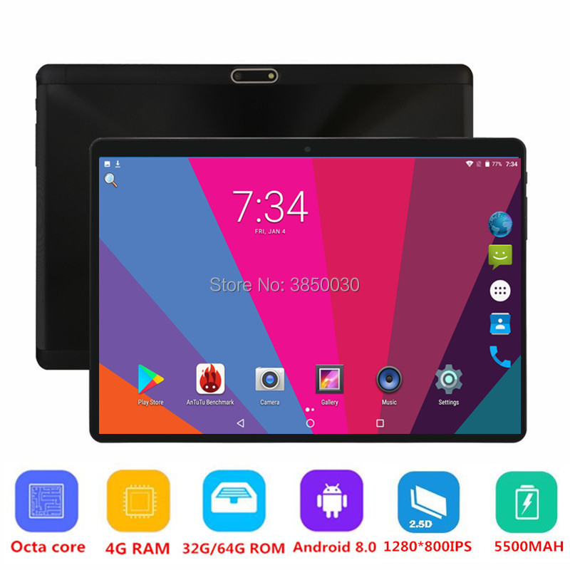 10 pouces Android 8.0 Tablet PC 3G 4G FDD LTE Phablet Soutien Netflix Youtube Octa Core 64 GB ROM 4 GB RAM 2.5D Glasss 1280X800