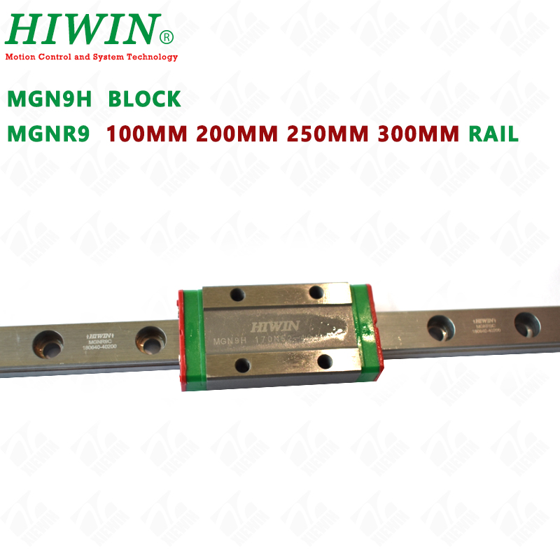 HIWIN MGN9H Long guide block carriages with MGNR9 guideway rail 100mm 200mm 250mm 300mm for DIY