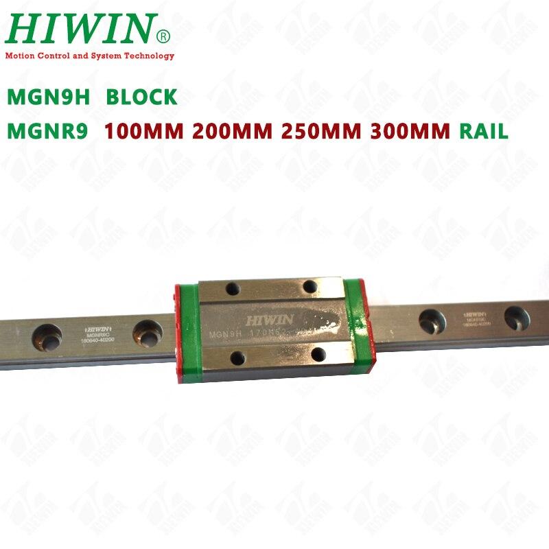 HIWIN MGN9H mucho guía de vagones con MGNR9 guía ferrocarril 100mm 200mm 250mm 300mm para DIY CNC