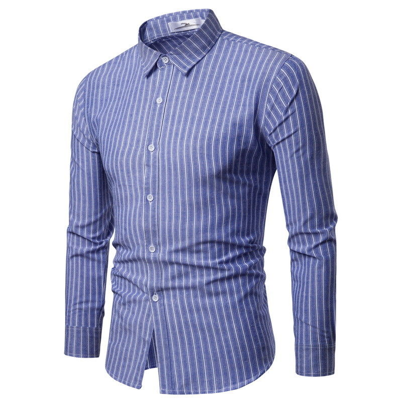 Fashion Men Casual Stylish Slim Fit Long Sleeve Button Striped Shirts Chemise Homme Cotton Male Check Shirts