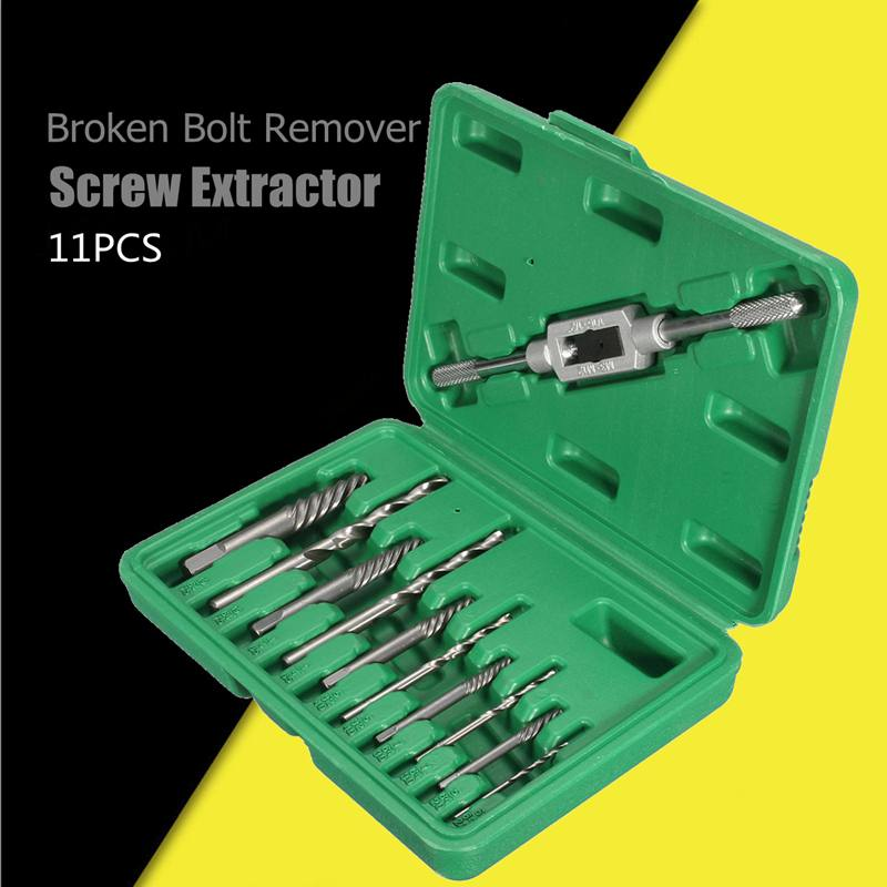 11pcs Damaged Screw Extractor Drill Bits Guide Set Broken Speed Out Easy Out Bolt Stud Stripped Screw Remover Tool