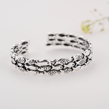 Personality New  925 Sterling Silver Jewelry Female Simple Bar Fish Restoring ancient ways High-quality Popular Open Bracelet цена