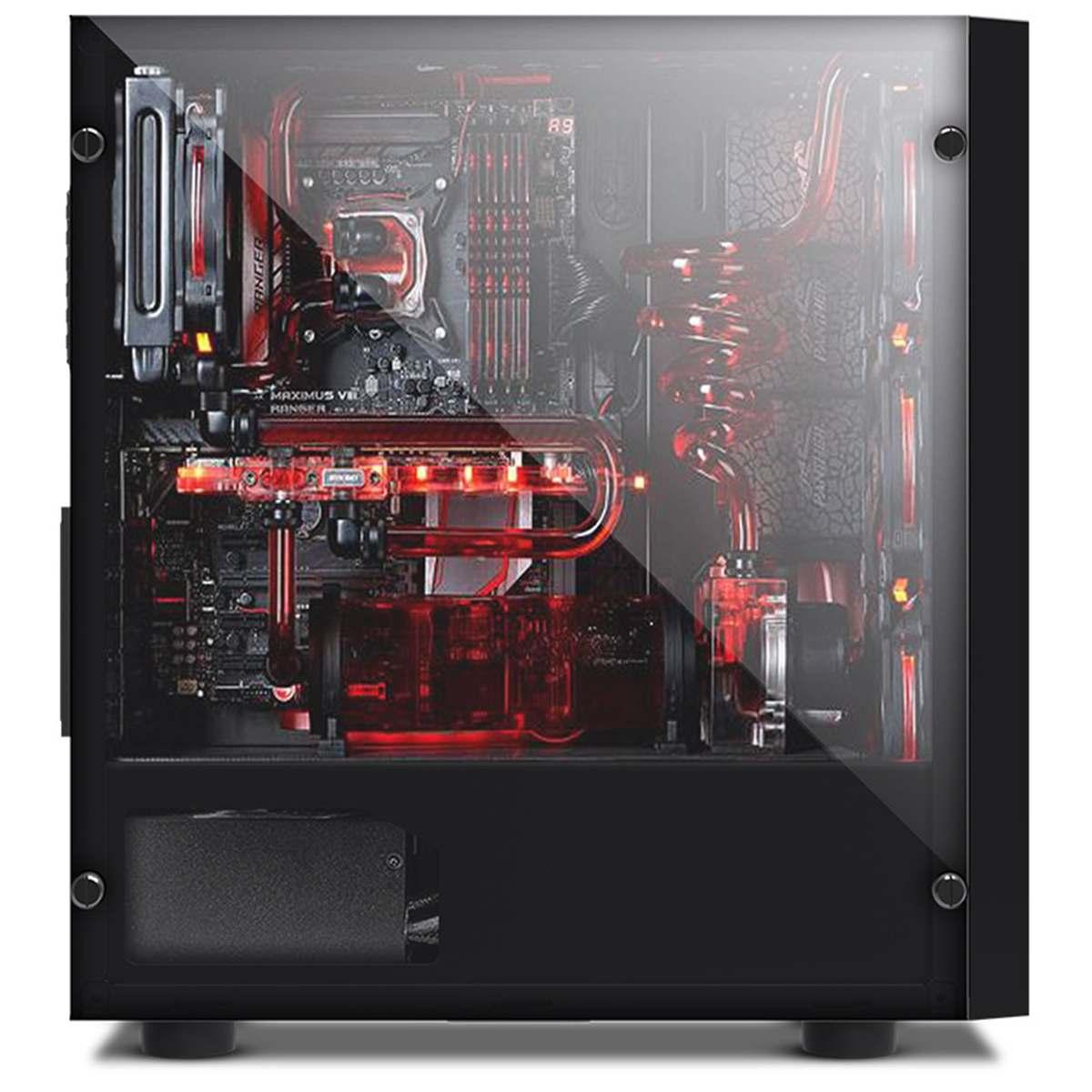 LEORY V3 ATX ordinateur de jeu PC boîtier 8 Ports de ventilateur USB 3.0 pour M-ATX/Mini ITX carte mère noir/blanc 370x185x380mm - 6