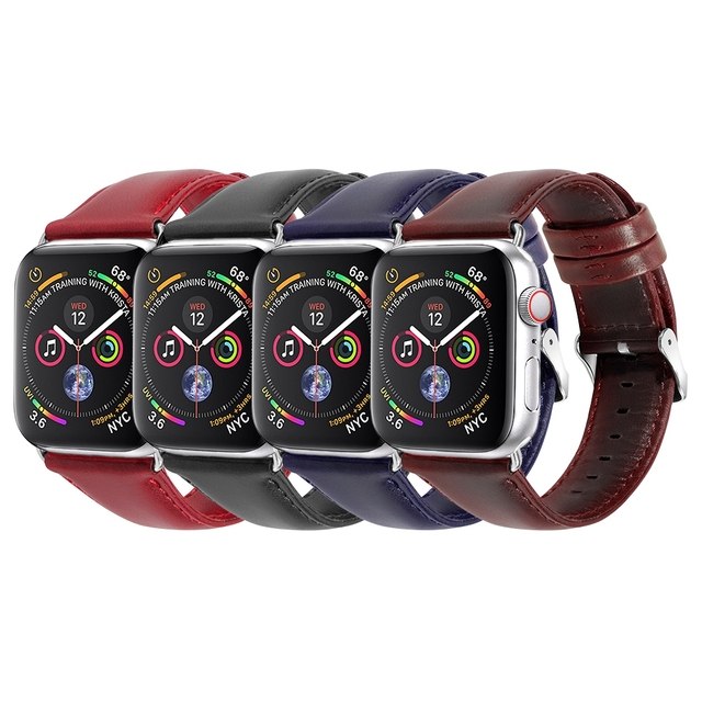 buy online 7b3df eed81 US $14.99 |Leather Band For Apple Watch Series 4 40mm 44mm Black Red  Bracelet Silver Buckle Adapter For iWatch Series 3&2&1 38mm 42mm-in  Watchbands ...