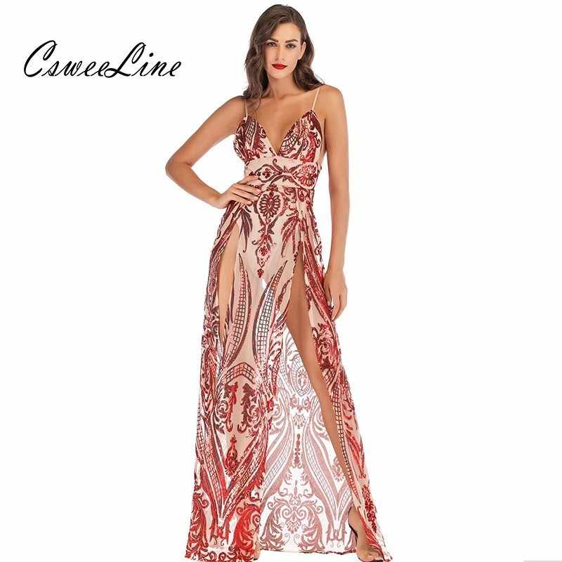 0c06afe4e3f7 Double Slit Sequins Red Maxi Dress Women Patterns High Waist Chic Sexy  Dresses Evening Party Dresses