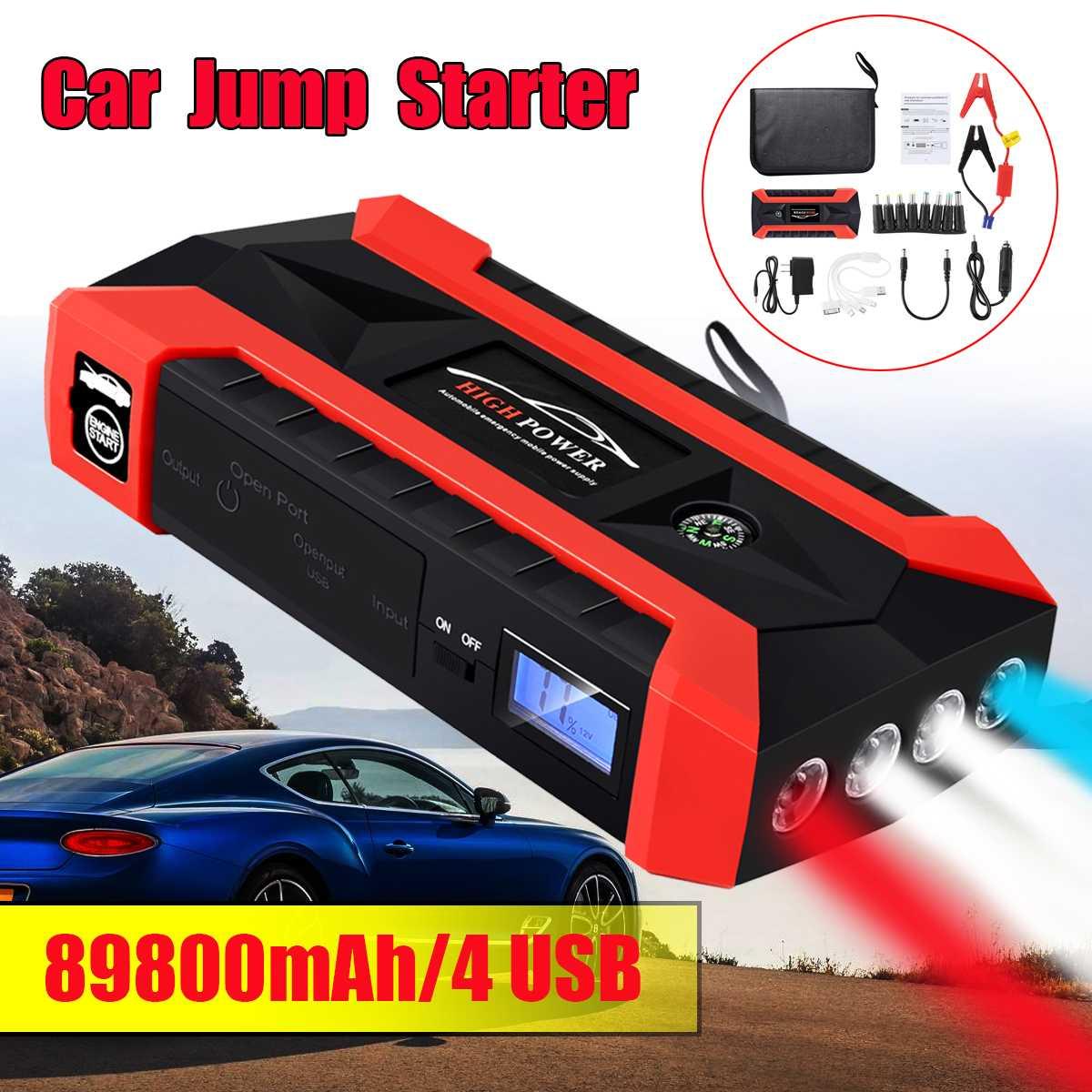 89800 mAh 4USB del coche salto de arranque multifunción cargador de emergencia de banco de potencia de batería Paquete de 12 V que dispositivo impermeable