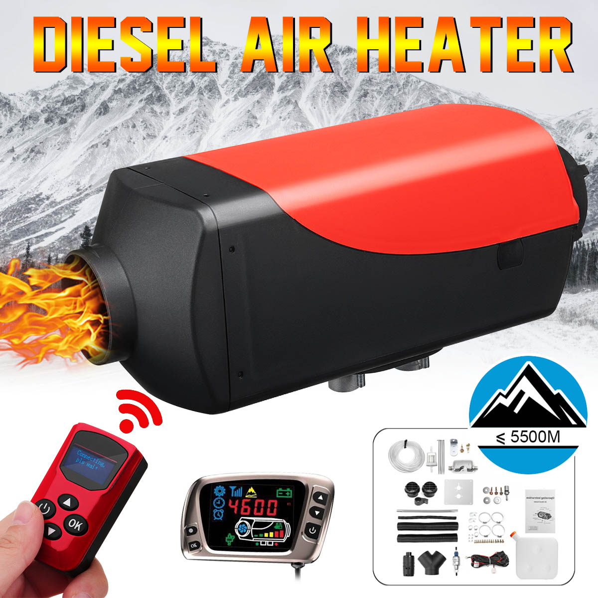 8KW 12V Air Diesels Heater LCD Monitor Remote Control Parking Heater 8000W for Trucks Boats Bus + New remote control + Silencer8KW 12V Air Diesels Heater LCD Monitor Remote Control Parking Heater 8000W for Trucks Boats Bus + New remote control + Silencer