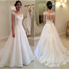 A line Lace Flowers Tulle Elegant Long Wedding Dresses 2018