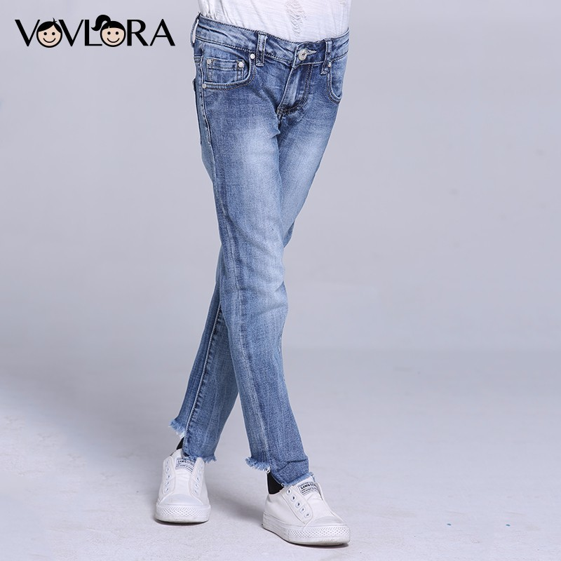 Girls Jeans Pants Straight Solid Pencil Kids Jeans Trousers Denim Casual Children Clothing Spring 2018 Size 9 10 11 12 13 14 Y цены