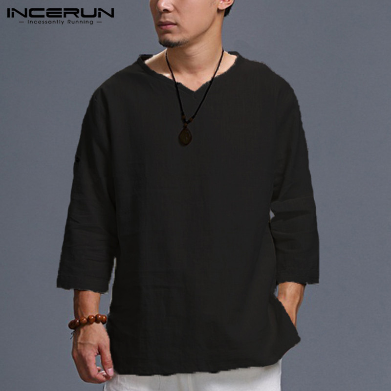 Mens Retro Style Cotton Linen T-Shirt V-Neck Chinese Style 3//4 Sleeve Clothes 32