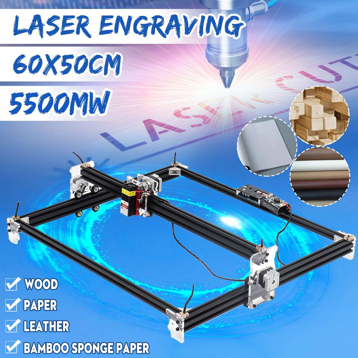 New 65*55cm Mini 5500MW Blue CNC Laser Engraving Machine 2Axis 12V DIY Home Engraver Desktop Wood Router/Cutter/Printer MachineNew 65*55cm Mini 5500MW Blue CNC Laser Engraving Machine 2Axis 12V DIY Home Engraver Desktop Wood Router/Cutter/Printer Machine