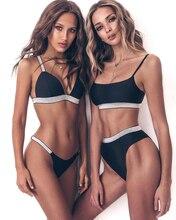 Thong Bikinis 2019 Sexy Solid Cross Bandage Push Up Padded Swimsuit Wrapping Chest 2019 New Strap Swimwear Women Biquini bule sexy self tie swimwear with padded chest
