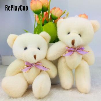 40pcs/lotMini Teddy Bear Stuffed Plush Toys 12cm Small Bear Stuffed Toys pelucia Pendant Kids Birthday Gift Party Decor DWJ011