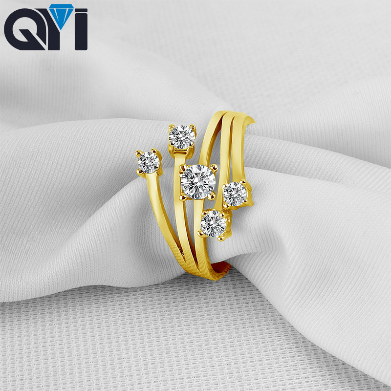 Jewelry & Accessories Qualified Qyi Engagement Jewelry 10k Solid Yellow Gold Rings Women Fashion Jewelry Round Sona Simulated Diamond Wedding Band Ring