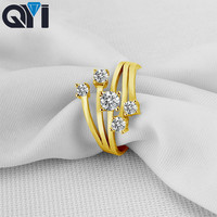 QYI Engagement Jewelry 14K Solid Yellow Gold Rings Women Fashion Jewelry Round Sona Simulated Diamond Wedding Band Ring