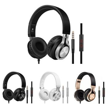 K2 Portable Wired Headphones Over-Ear Headset Super Bass Earphone with Mic Adjustable Headband for Phone PC