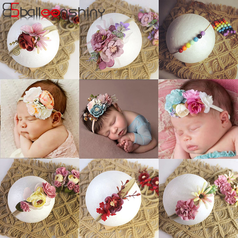 BalleenShiny, diadema de flores de princesa para recién nacido, niño, niña, fotografía artificial y floral, accesorios de pelo para niño, diadema