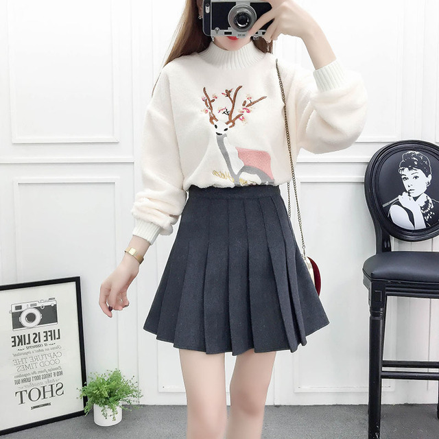 5bfc00689e1fa autumn winter Korean fashion suits lax embroidery lambs wool fleece sweater    pleated skirts 2 pcs clothing set women outfit