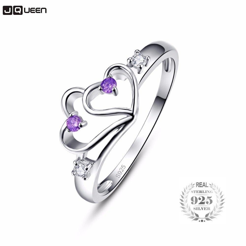 Romantic 925 Sterling Silver Purple Zircon Double Love Heart Pendant Necklace