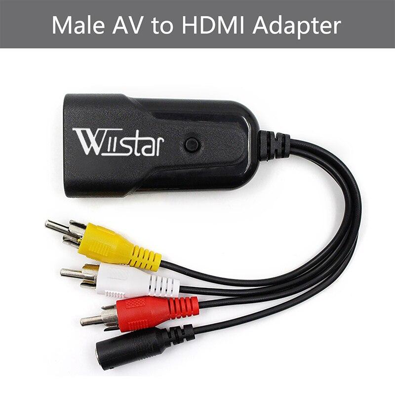 Wiistar New AV To HDMI Video Converter Box AV2HDMI RCA AV HDMI CVBS To HDMI Adapter For HDTV TV PS3 PS4 PC DVD Xbox Projector