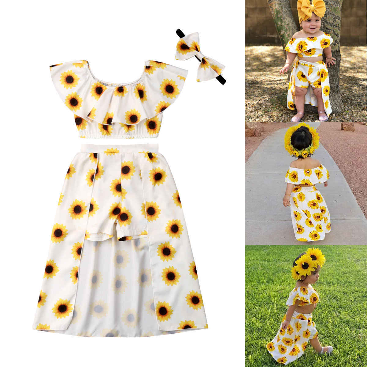 bac5b7b287 Pudcoco Girl Set 2Y-6Y USA Summer Kids Baby Girl Sunflower Crop Tops Shorts  Dress