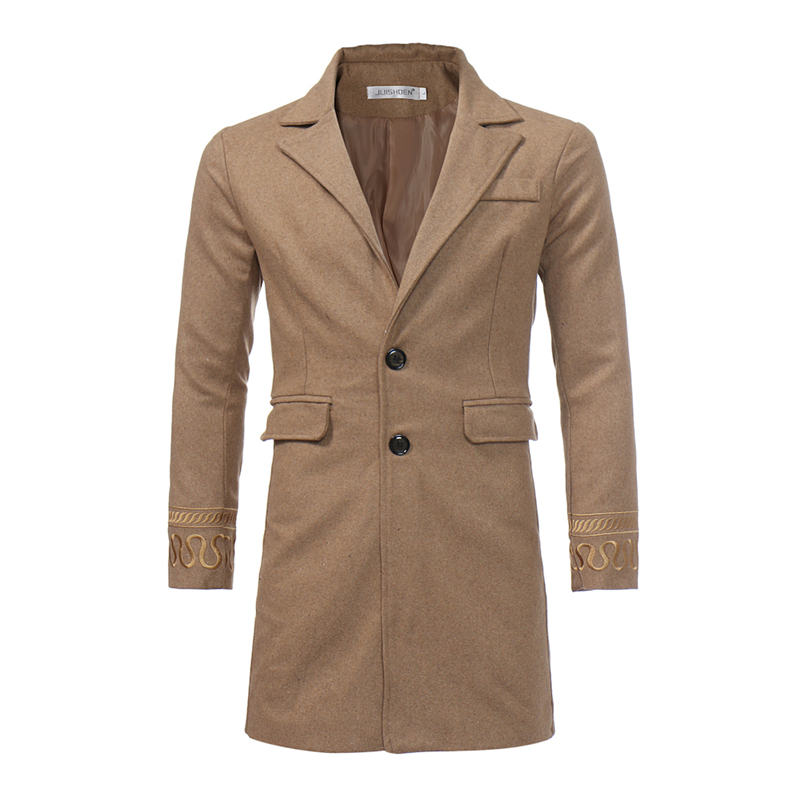 Competent Casual Fashion Long Woolen Winter Coats Slim Long Sleeve Turn Down Collar Wool Coat And Jacket Single Breasted Men Overcoat Men's Clothing Jackets & Coats