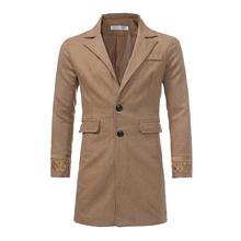 Casual Fashion Long Woolen Winter Coats Slim Long Sleeve Turn Down Collar Wool Coat and Jacket