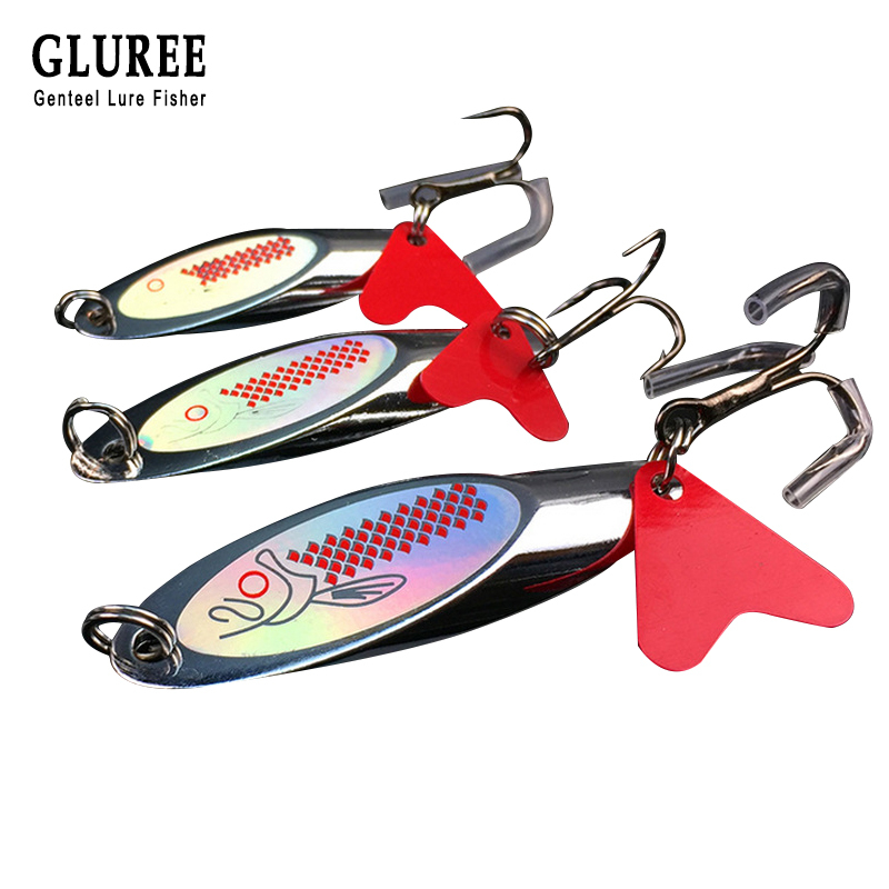 GLUREE 1Pcs 7g 10g 14g 21g Metal Sequin Fishing Lures Spoon Lure Paillette Artificial Bait With Treble Hook Fishing Tackle