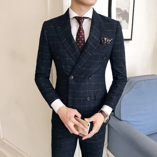 Suit suit Korean version of the self-dressing casual wear trend fashion business casual lattice double-breasted men's suit