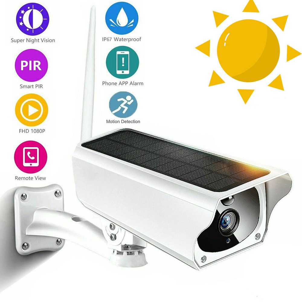 Wireless Solar Energy Outdoor Night Vision WiFi IP Camera 1080P HD USB Battery Power Security Camera Audio CCTV APP controlWireless Solar Energy Outdoor Night Vision WiFi IP Camera 1080P HD USB Battery Power Security Camera Audio CCTV APP control