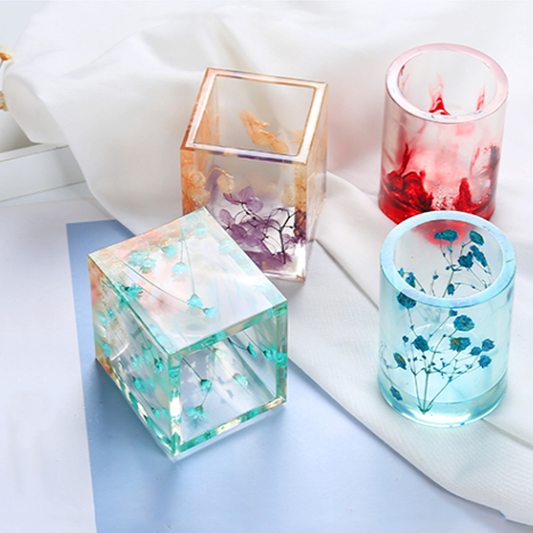 Transparent Silicone Mould Dried Flower Resin Decorative Craft DIY Storage Pen Holder Mold Epoxy Resin Molds For Jewelry