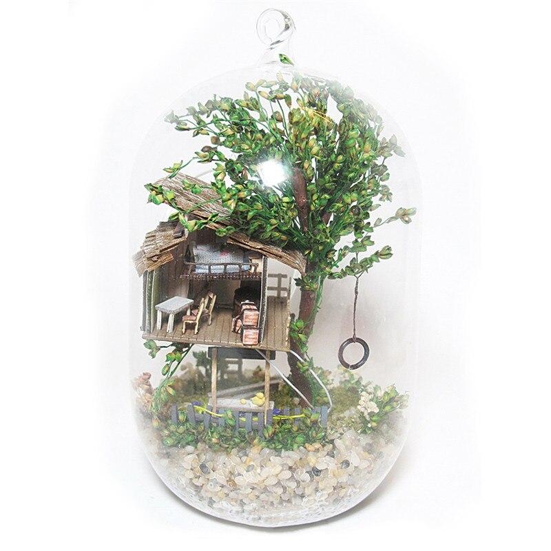 DIY Glass Ball Wooden Dollhouse Summer Morning Handmade Mini Miniature Furniture Building LED Light Craft Home Decoration SC02 2