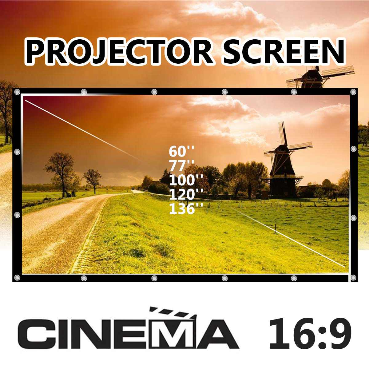 Projection-Screen Foldable Canvas Travel White 136inch Theater Outdoor Home Matt