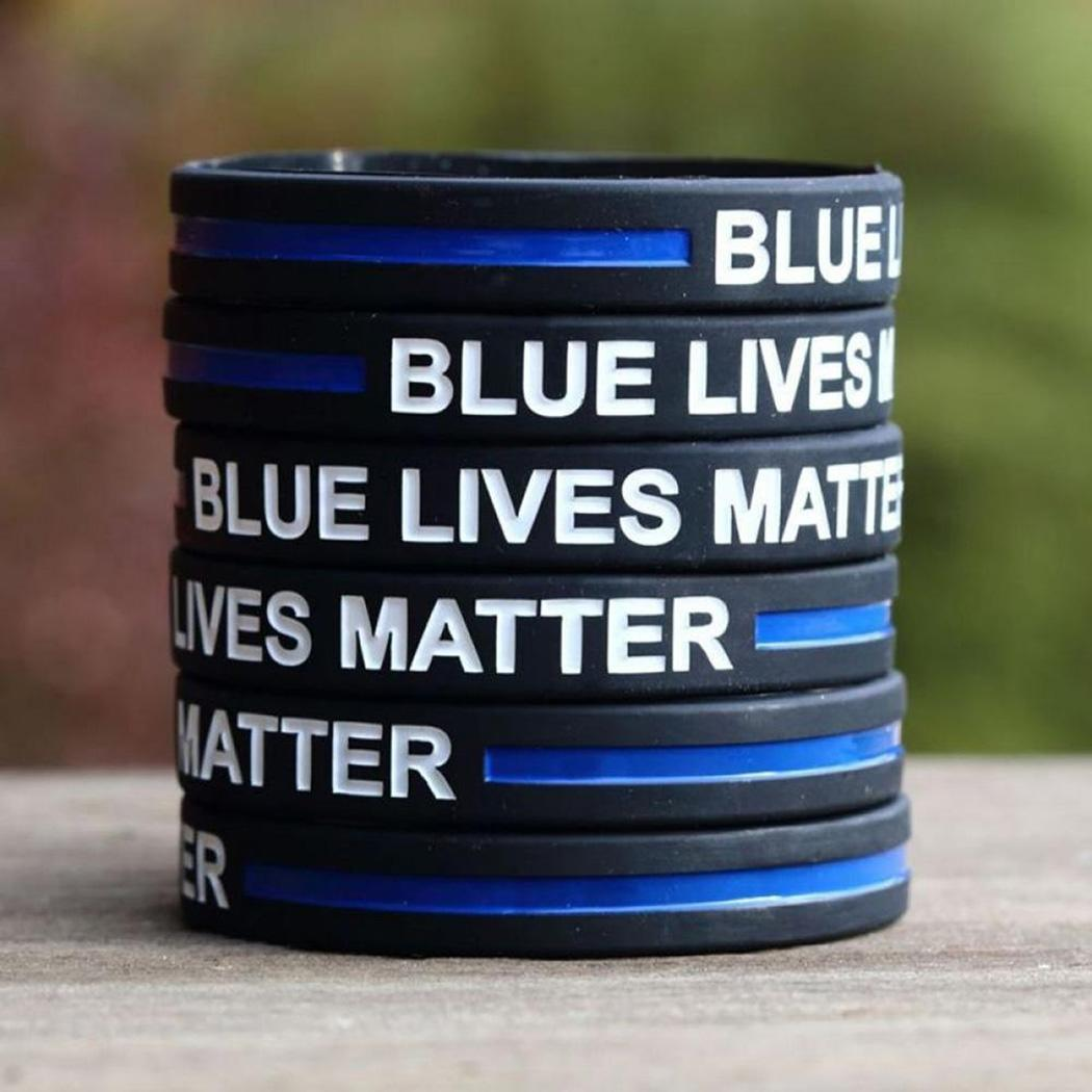 Blue Lives Matter Pattern Silicone Wristband Outdoor Sports Thin 1.3 Cm/0.5 Inch approx 1 Bracelet Moderate Price