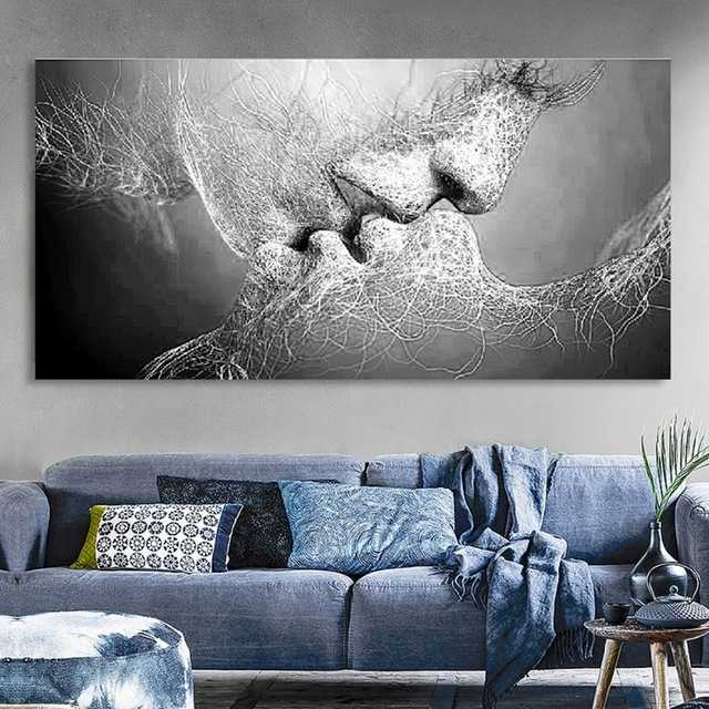 2018 Gray white line Love Kiss Canvas Painting Abstract Print Poster Pictures Home Bedroom Living Room Decoration Wall Art